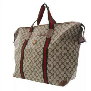 Authentic GUCCI large tote/Travel bag brown canvas